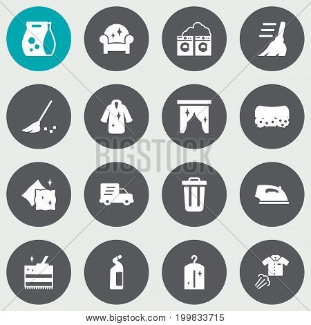 Collection Of Ironing, Iron, Cushion And Other Elements.  Set Of 16 Harvesting Icons Set.