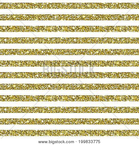 Gold Glitter Background. Golden texture with sparkles. Square striped seamless pattern. Glittering vector. Luxury shining decoration for greeting, holiday design elements. Digitally created.