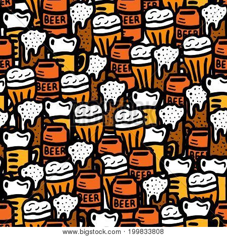 beer seamless doodle pattern beer glasses texture