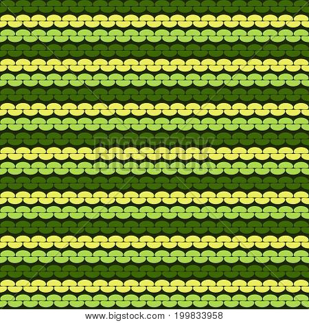 Seamless knitted background. Knitted realistic seamless pattern of green and yellow color. Reverse side.