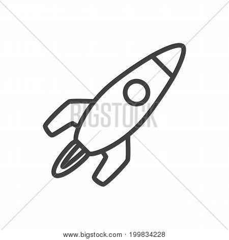 Vector Startup Element In Trendy Style.  Isolated Rocket Outline Symbol On Clean Background.