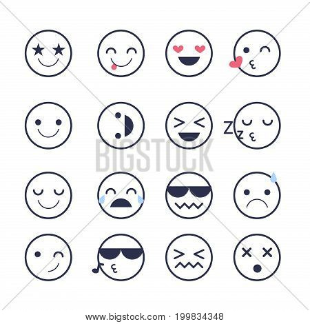 Set emoticons icons for applications and chat. Emoticons with different emotions isolated on white background. Large collection of smiles.