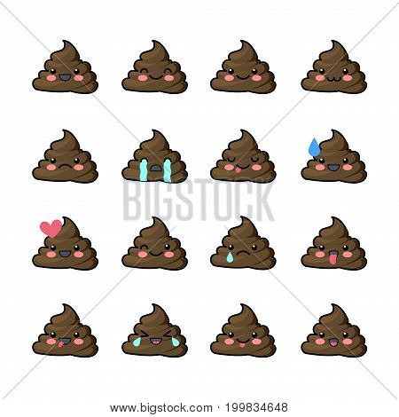 Set of cute kawaii badge. A collection of funny poop-Emoji. Stickers badges pack for a chat. Emoticons icons.