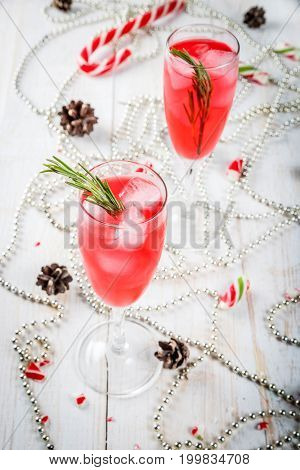 Cocktail With Cranberry And Rosemary