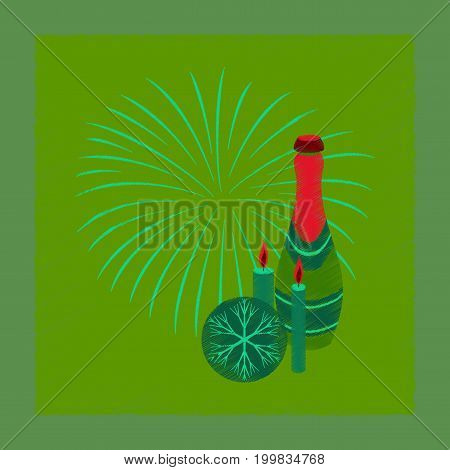 flat shading style icon of champagne candles fireworks