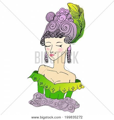 Vector colored rococo doodle girl wearing big hairstyle and shoulder open dress.