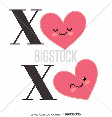 Happy Valentines Day greating card. Inscription Xo-Xo and happy heart on a white background. Illustration for Happy valentines day and weeding design project.