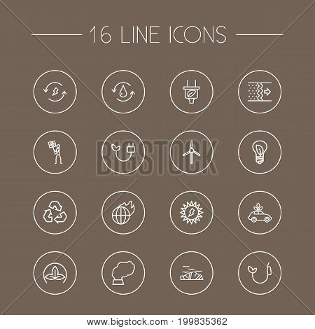 Collection Of Fuel, Garbage, Air And Other Elements.  Set Of 16 Ecology Outline Icons Set.