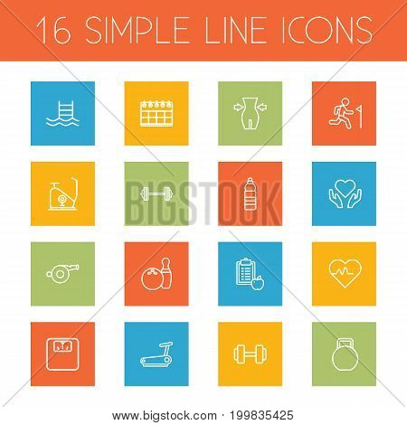Collection Of Exercise Bike, Water Bottle, Bowling And Other Elements.  Set Of 16 Training Outline Icons Set.