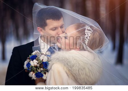 The Bride And Groom Kissing Under The Veil. Wedding Photo Session In The Winter Outdoors