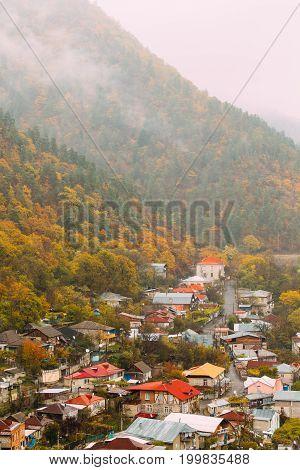 Borjomi, Samtskhe-Javakheti, Georgia - Aerial View Cityscape Of Borjomi  Resort City Autumn October Day. Borjomi Is A Resort Town In South-central Georgia With A Population Of 10, 546