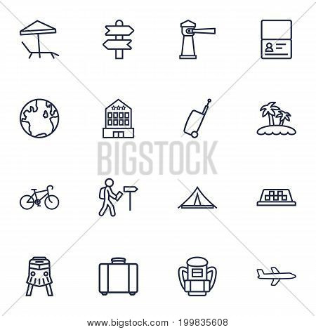 Collection Of Foreigner, Palm, Certificate And Other Elements.  Set Of 16 Travel Outline Icons Set.