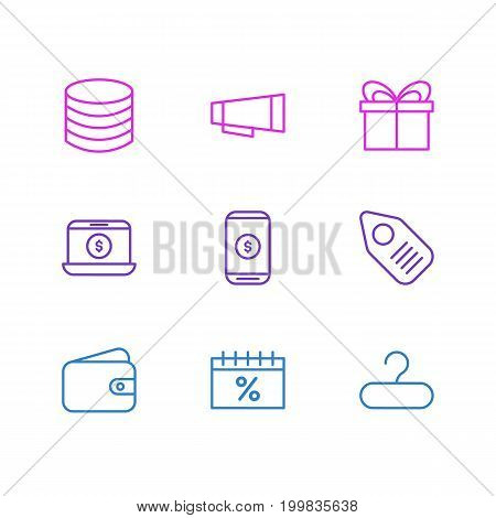 Editable Pack Of Money, Pocketbook, Rack And Other Elements.  Vector Illustration Of 9 Commerce Icons.
