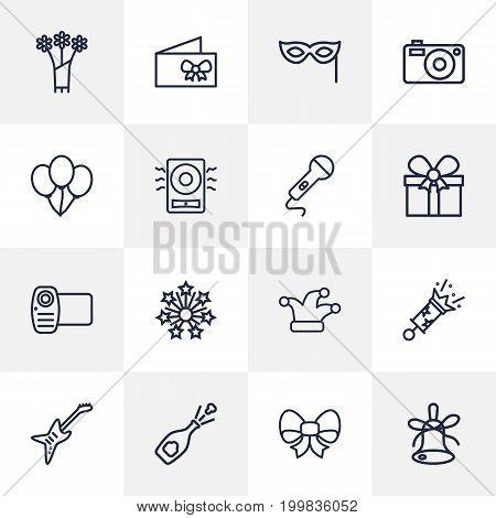 Collection Of Decorative, Amplifier, Card And Other Elements.  Set Of 16 Party Outline Icons Set.