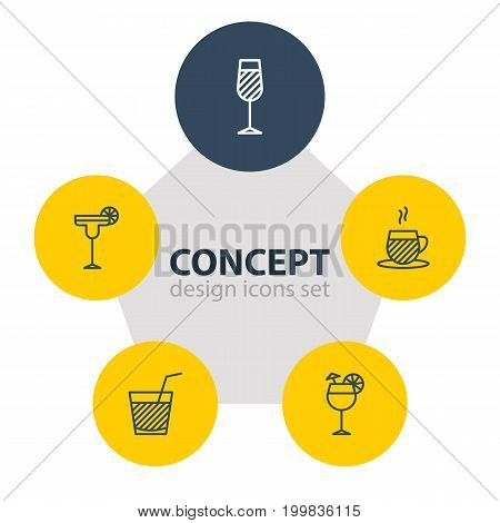 Editable Pack Of Beverage, Goblet, Drink And Other Elements.  Vector Illustration Of 5 Beverage Icons.