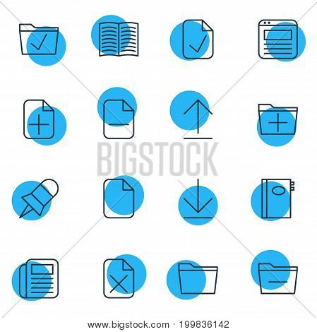 Editable Pack Of Plus, Remove, Template And Other Elements.  Vector Illustration Of 16 Office Icons.
