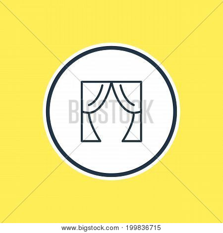 Beautiful Cinema Element Also Can Be Used As Theater Element.  Vector Illustration Of Curtains Outline.