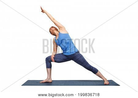 Woman doing Ashtanga Vinyasa yoga asana Utthita parsvakonasana - extended side angle pose beginner variation isolated on white