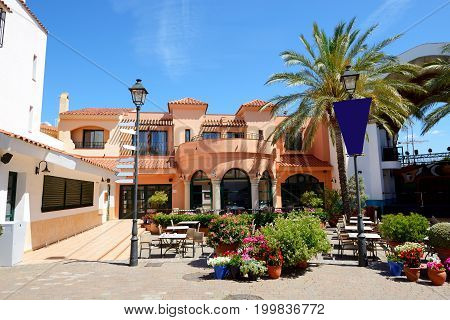 The outdoor restaurant at luxury hotel Costa Dorada Spain