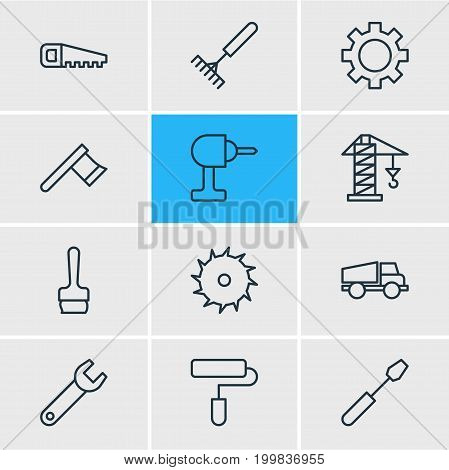 Editable Pack Of Lifting, Turn Screw, Lorry And Other Elements.  Vector Illustration Of 12 Industry Icons.