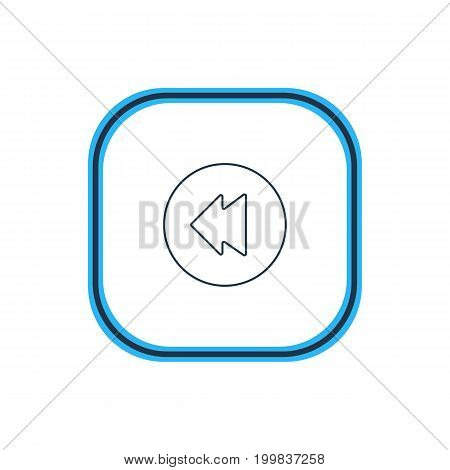 Beautiful Music Element Also Can Be Used As Reversing Element.  Vector Illustration Of Backward Outline.