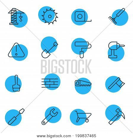 Editable Pack Of Circle Blade, Spanner, Paintbrush And Other Elements.  Vector Illustration Of 16 Structure Icons.