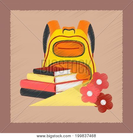 flat shading style icon school book bag flowers