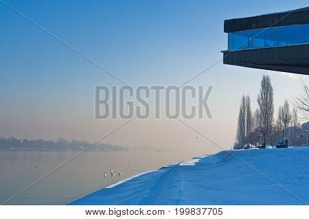 Danube river at sunny winter morning in Belgrade, Serbia