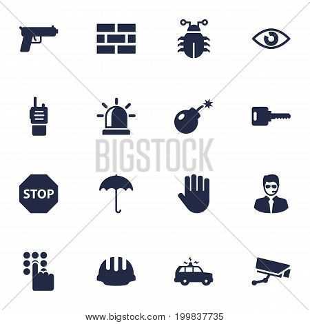 Collection Of Surveillance, Alarm, Walkie-Talkie And Other Elements.  Set Of 16 Procuring Icons Set.