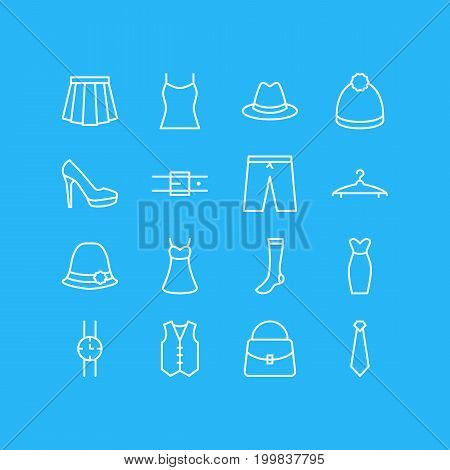 Editable Pack Of Pompom, Apparel, Panama And Other Elements.  Vector Illustration Of 16 Dress Icons.