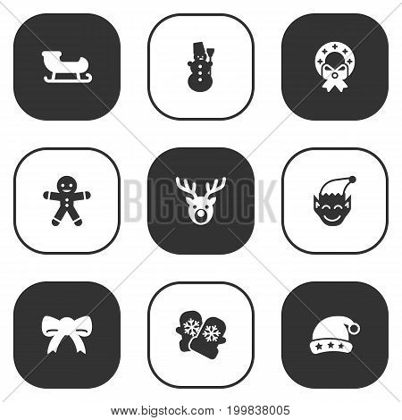 Collection Of Cookie, Ice Person, Gnome And Other Elements.  Set Of 9 New Icons Set.