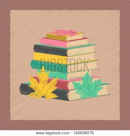 flat shading style icon education stack of books