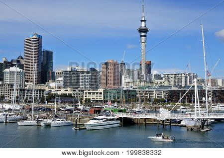 Auckland Skyline From Viaduct Harbour
