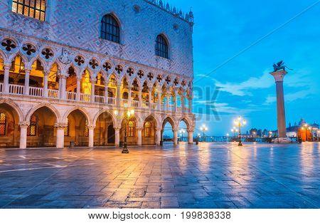 Ducal Palace on Piazza San Marco Venice landscape street lamp square town famous landmark.