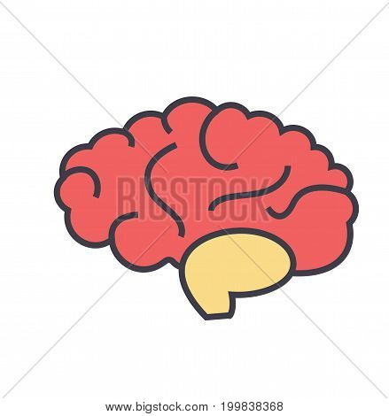 Brain, brainstorm, thinking, idea, mind concept. Line vector icon. Editable stroke. Flat linear illustration isolated on white background