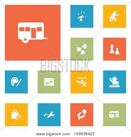Collection Of Fish, Singer, Payment And Other Elements.  Set Of 12 Lifestyle Icons Set.