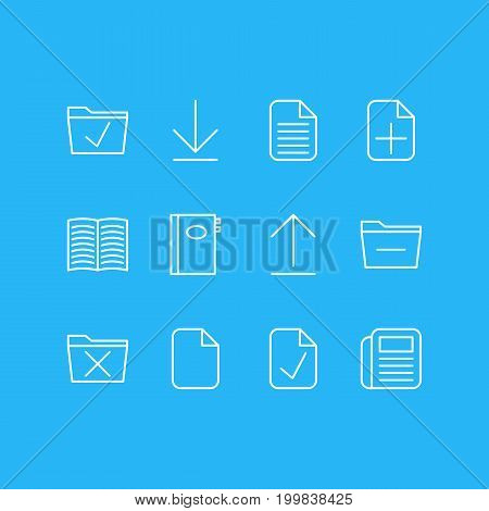 Editable Pack Of Document, Downloading, Book And Other Elements.  Vector Illustration Of 12 Workplace Icons.