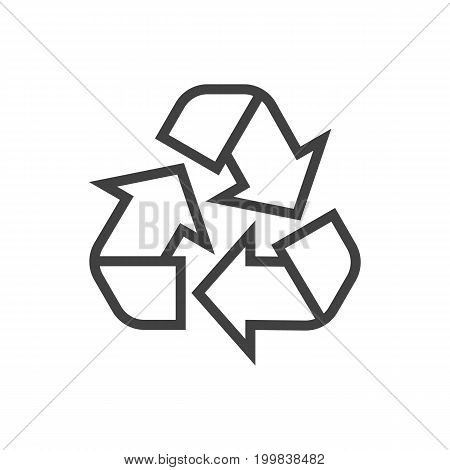 Vector Recycle Element In Trendy Style.  Isolated Conservation Outline Symbol On Clean Background.