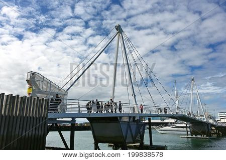 Wynyard Crossing Bridge In Viaduct Harbour Auckland