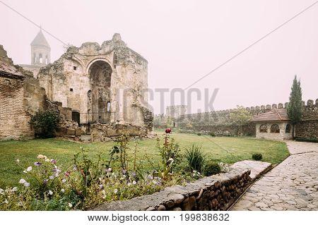 Ninotsminda Village, Kakheti Region, Georgia. Ruins Of Old Church Monastery Of Saint Nino, Ninotsminda Near Sagarejo. Monastery Was One Of Most Important Spiritual And Educational Centers In Georgia