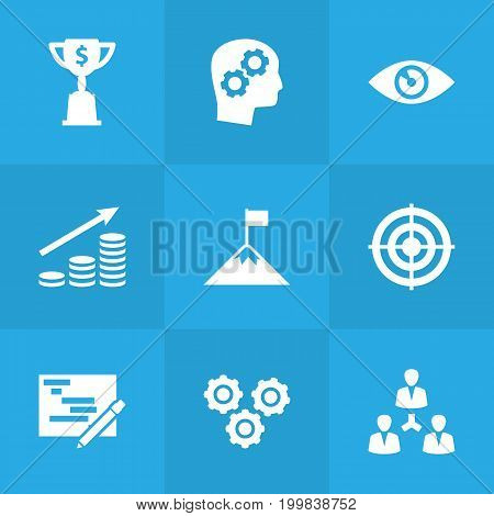 Collection Of Writing, Achievement, Vision And Other Elements.  Set Of 9 Business Icons Set.
