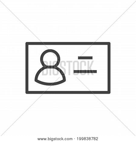 Vector Business Card Element In Trendy Style.  Isolated Id Outline Symbol On Clean Background.