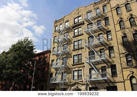 Historical architecture with fire escape in Williamsburg, New York