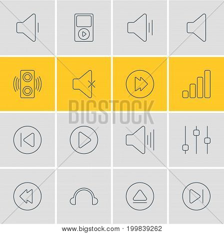 Editable Pack Of Acoustic, Speaker, Amplifier And Other Elements.  Vector Illustration Of 16 Music Icons.