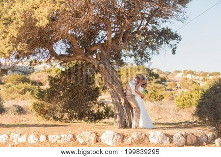 Newlywed couple standing under shade of tree in summer.