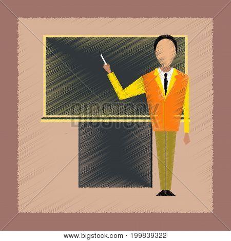 flat shading style icon education male teacher