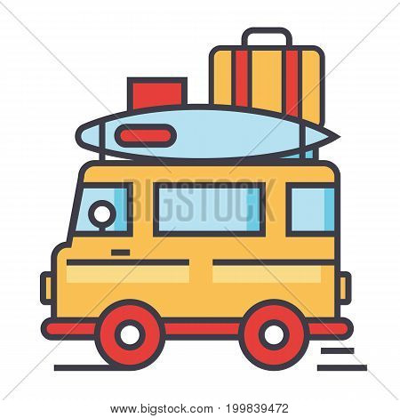 Caravan, travel, camping trailer, van concept. Line vector icon. Editable stroke. Flat linear illustration isolated on white background