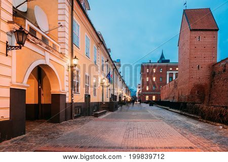 Riga, Latvia - December 13, 2016: Facades Of Old Famous Jacob's Barracks On Torna Street. The Barracks Were Built In 18th Century At Base Of The City Fortifications