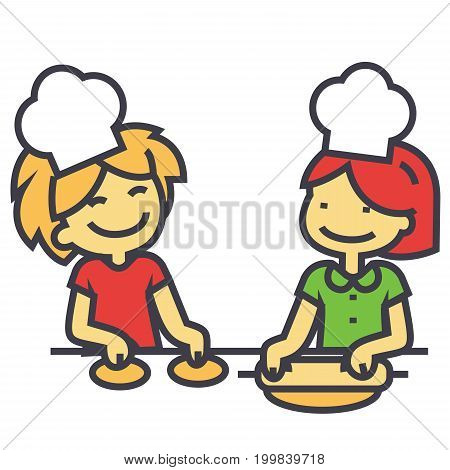 Children cooking, cooking classes for kids concept. Line vector icon. Editable stroke. Flat linear illustration isolated on white background
