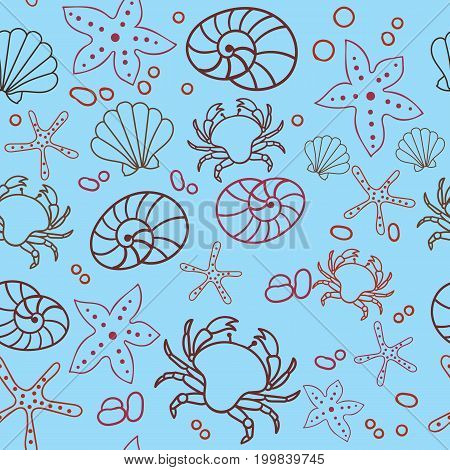 Seamless marine pattern. Sea, crab, starfish, shells. The underwater world. Vector illustration. Marine background Children backdrop Eps10